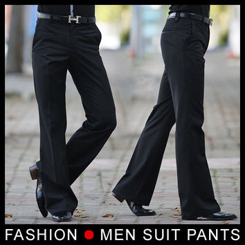 Men's Flared trousers Formal pants Bell Bottom Pant Dance suit pants Size 28-33 Black Free shipping