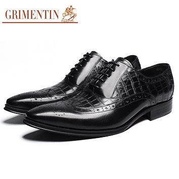 Vintage Men Oxford Shoes Genuine Leather Black Lace Up Fashion Formal Male Business Shoes Footwear