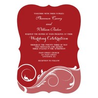 Red Floral Swirl Bracket Wedding Invites