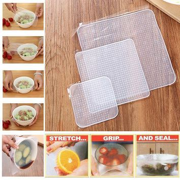 4pcs/set Reusable Silicone Food Wrap
