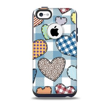 The Stitched Plaid Vector Fabric Hearts Skin for the iPhone 5c OtterBox Commuter Case