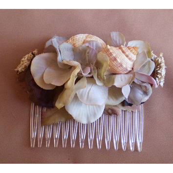 seashell floral comb hair flower bridal womens fashion accessory