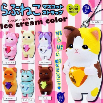 Kitan Club Love Neko Mascot Strap Gashapon Part 2 Ice Cream Color Ver 7 Collection Figure Set