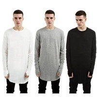 3 color 2016 NEW TOP kanye west YEEZY men's Long sleeve t-shirts extended curved hem oversized t shirt hiphop Solid Cotton tee