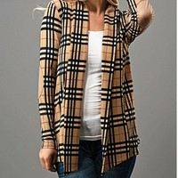 Camel Plaid Cardigan