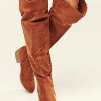 Level Up Faux Suede Over The Knee Boots (Tan)