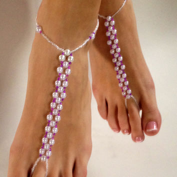 Pearl and Fusia Hot Pink Barefoot Sandals