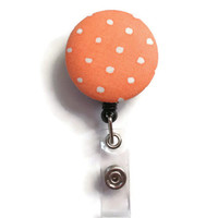 Fabric Covered Retractable Badge Reel Orange and White Polka Dots