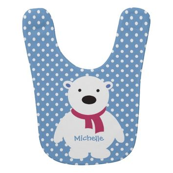 Cute Slate/White Polka Dots, Polar Bear, Add name