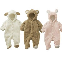 [Babytree]Winter Baby Animal Fleece Jacket /Coat /Siamese Romper H7501White70 (0-6M)