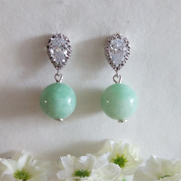Genuine Green Jade and Cubic Zirconia Stud Dangle Earrings, Bridal Earrings, Gifts, Christmas Gift, Valentine's, Mother's Day, Gift Idea.