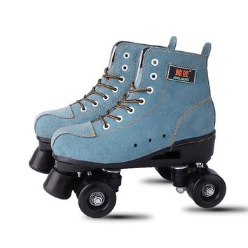 BSTFAMLY Adult  Artificial Leather Roller Skates Double Line Skates Two Line Skating Shoes Patines With Black PU 4 Wheels IB98