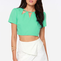 Get to the Point Cutout Mint Green Crop Top