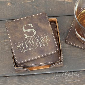 Square Personalized Leather Coaster Set of 6 - Rustic CB09