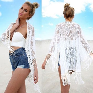 Sexy Women Lace Crochet Tassel Bikini Swimwear Cover Up Beach Dress Kaftan Clothing = 1920197700