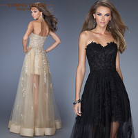 Black Champagne Off Sshoulder Appliques Lace Prom Dresses 2016 Sweetheart Fashion Party Evening Dress