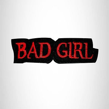 Bad Girl Red white and Black Iron on Small Patch for Women Biker Vest