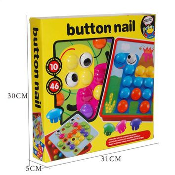 3D Toys For Children Composite Picture Puzzle Creative Mosaic Mushroom Nail Kit Educational Toys Button Art Kids Toy