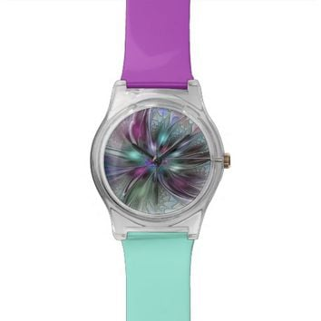 Colorful Fantasy, abstract and modern Fractal Art Watches