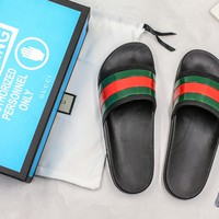 Gucci Black Rubber With Green And Red Web Slide Sandal With Blue Box - Best Online Sale