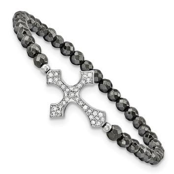 Sterling Silver Cross W/cz & Hematite Stretch Bracelet