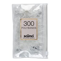 Scunci Mixed Size Polybands in Zippered Pouch Clear - 300pk