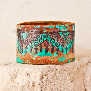 Turquoise Jewelry Bracelet Cuff Wristband Bohemian Eco Friendly Upcycled Gypsy Hippie Cuffs Bracelets Wristbands March Spring