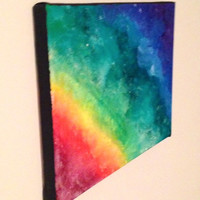 Rainbow Kaleidoscope Original Acrylic Painting Multi Colored Prism Pattern on a Gallery Wrapped Canvas 9x12