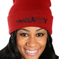 Red and Black immaBEAUTY Streetwear Beanie Cap at Threader® Streetwear, Hip Hop Clothing, and Urban Clothing