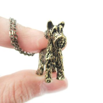 Realistic Schnauzer Puppy Dog Shaped Animal Pendant Necklace in Brass | Jewelry for Dog Lovers