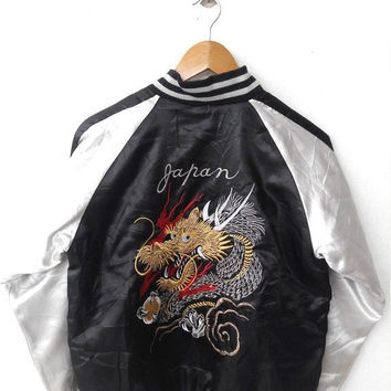 ON SALE SUKAJAN Japanese Vintage 90's Embroidery Dragon Embroidered Souvenirs Satin Black Jacket