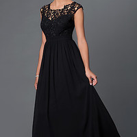 Illusion Lace Sweetheart Floor Length Prom Dress