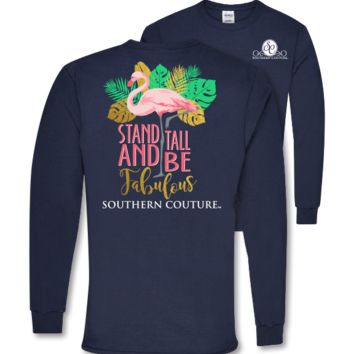 Southern Couture Preppy Fabulous Flamingo Long Sleeve T-Shirt