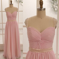 Blush Pink Chiffon Bridesmaid Dress/Prom Dress Beaded Beading Cap Sleeves Dress