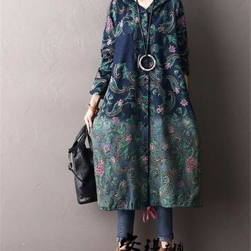 Yesno AC1 Women Loose Denim Trench Coat Floral Painted Button-Down Drawstring Hoodie Outerwear Overcoat Breast /Side Pockets