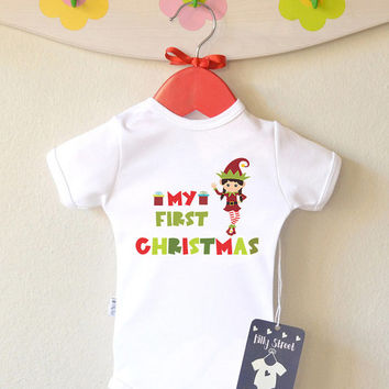 My First Christmas - Christmas Baby Clothes. Baby Santa Elf Bodysuit or Shirt. Short or Long Sleeve. Add Your Name
