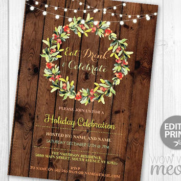 Christmas Party Invites Rustic Wood Festive Invitations Eat, Drink and Be Merry Invites Wreath INSTANT DOWNLOAD Holidays Printable Editable