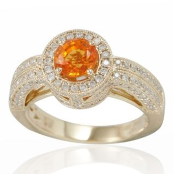 Suzy Levian 14K Yellow Gold Orange Sapphire and Diamond Ring - 17975137 - Overstock - Top Rated Suzy Levian Gemstone Rings - Mobile