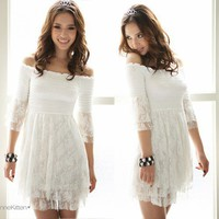 Korea Women Off Shoulder Layer Lace Top Mini Dresses