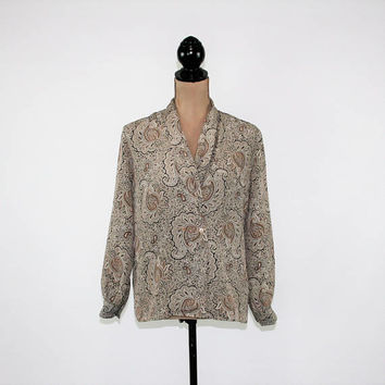80s Long Sleeve Blouse Paisley Womens Medium Petite Dressy Top Size 8 Shirt Shawl Collar Taupe Brown 1980s Vintage Clothing Womens Clothing