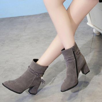 PEAPJ1A New suede women's boots pointy in tube rough with Martin side zipper fashion single boots