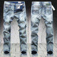 Men's Light Color Straight Printed Jeans
