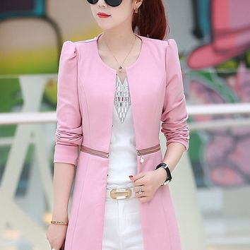 Long Women's Blazer 2017 Spring Korean Female Jacket Long-sleeved OL Fashion Round Neck Autumn  Zipper Decoration Ladies Jacket