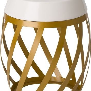 Lexa Metal Stool/Table Powedercoated Gold With A White Ceramic Top