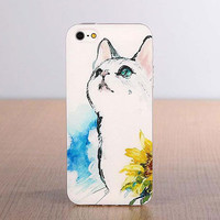 Cute Cat Cartoon Pattern Silicone Iphone 5/5s/5c/6/6s Cases