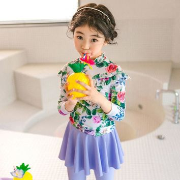 Korean Cute Children Swimsuits Lovely Print Girls Skirt Two-pieces Long Sleeve Trousers Uv Protection Baby Swimwear Free Hat