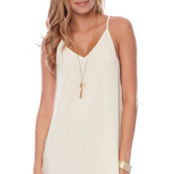 Deep Down Tunic Dress in Off White :: tobi