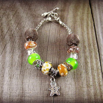 Gingerbread Charm Bracelet Silver Gingerbread Man Charm Holiday Euro Charm Bracelet Euro Beads Bracelet on Snake Chain European Mixed Beads