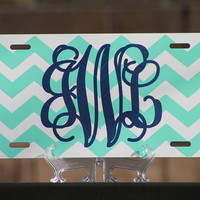 Personalized Chevron License Plate - Monogrammed - Metal/Aluminum
