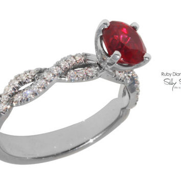Rubi Diamond Ring 14K gold Birthstone Ring.